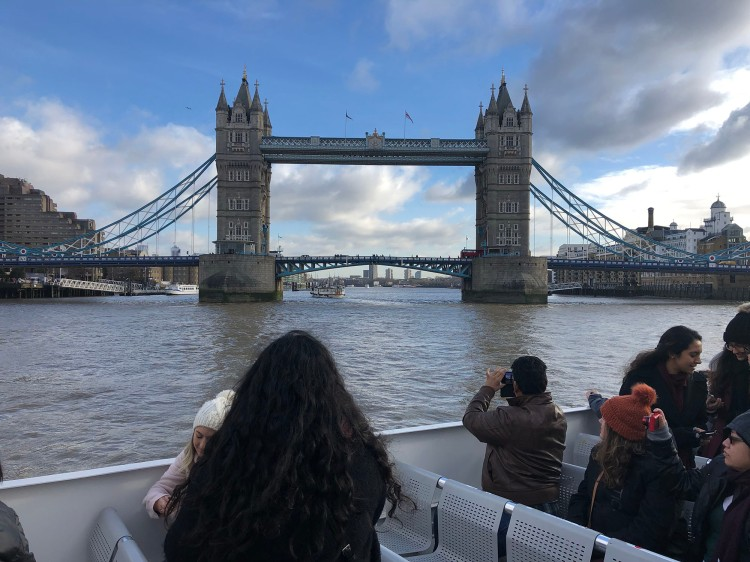 Students get their pictures of Tower Bridge from our boat on the Thames.