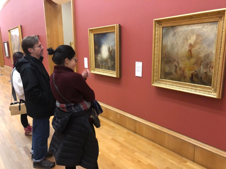 Dr. Maldonado and student Victoria Cisternos admire a work by Turner at the Tate Britain.