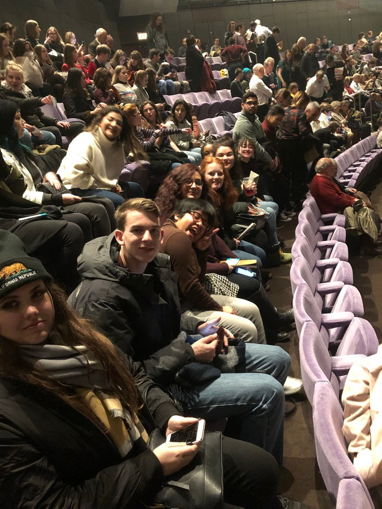 Students await the beginning of Antony and Cleopatra at the National Theatre. Great seats!
