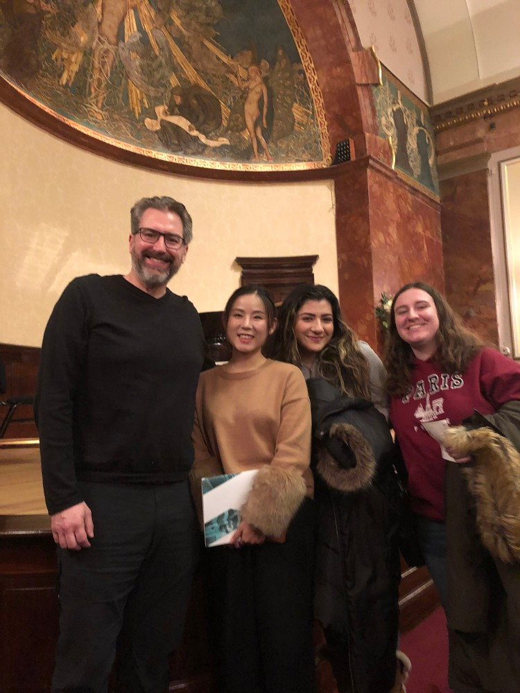 Dr. Radford with voice students Yuxi Liu, Jillian Avila and Heather Welcher on the London trip at a voice recital at Wigmore Hall.