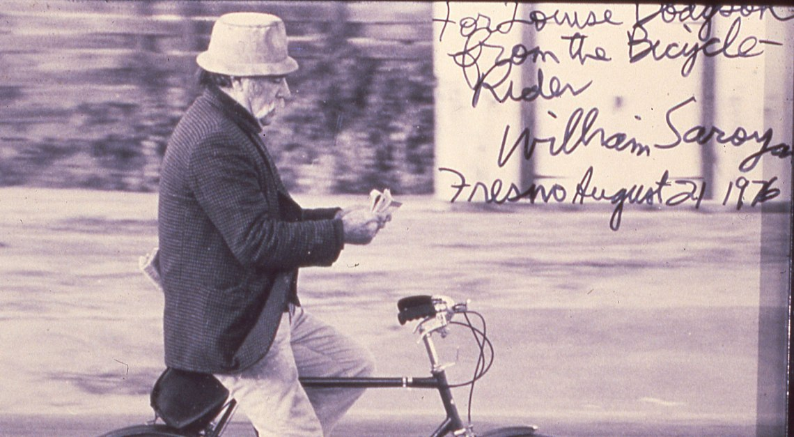 William Saroyan on a bicycle