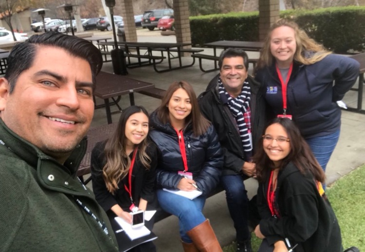 Armando Aparicio [Fox 11 LA Photojournalist, Unknown, Gina Avalos, Sid Garcia [ABC7 LA Reporter], Claire Flores [KEYT Santa Barbara Assignment Desk Manager], Kneeling in front of Clair is Alexandra Ali a student from New York.