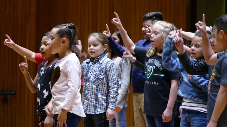 Burrel Union Elementary School students perform in the John Wright Theatre