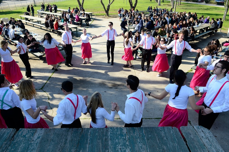 Traditional Portuguese dancing during Tulare Union High School visit in 2017