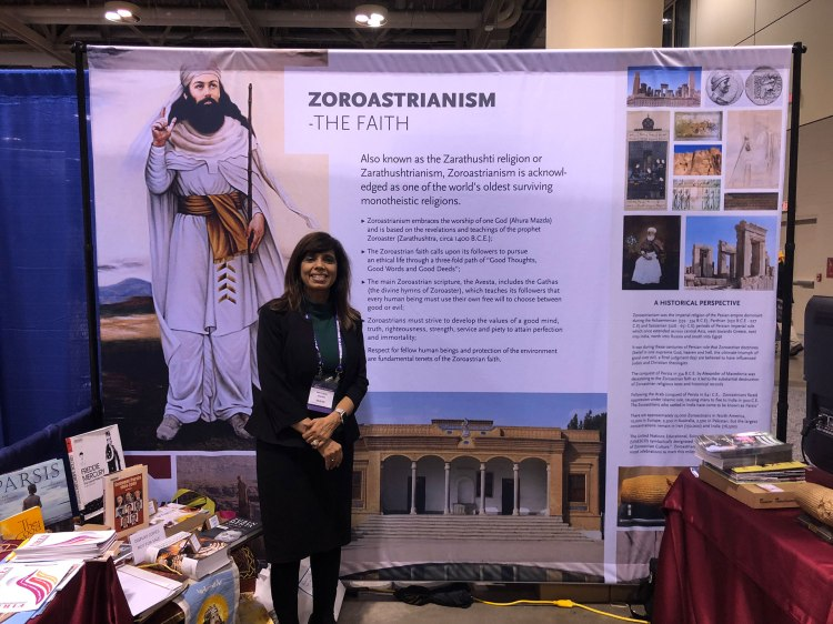 Dr. Veena Howard at Zoroastrianism exhibit