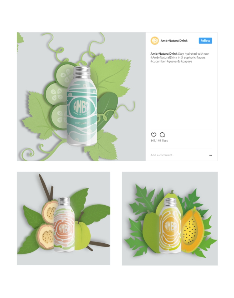 "Belinda Houngsombath; Packaging – ""Ambr Natural Drink Brand Identity"""