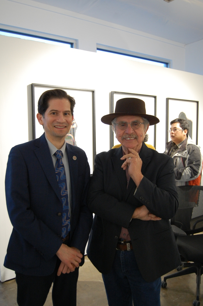 Dr. Saúl Jiménez-Sandoval, dean of the College of Arts and Humaniaites and artist Malaquias Montoya.