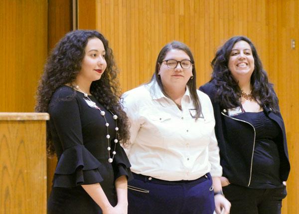 Primavera Leal Martinez, Megan Evans and Krystal Cantú represent the English Department at Arts in Motion.