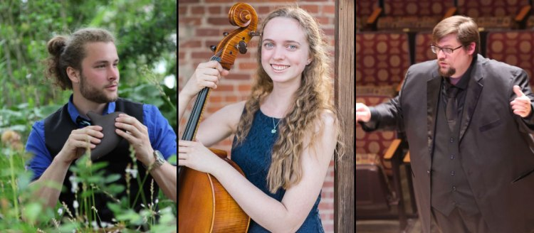 Nathaniel Mauldin, graduate composition student; Emma Hill, and Joseph Cargill