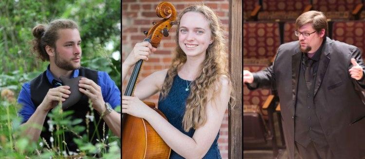 Nathaniel Mauldin, graduate composition student; Emma Hill, and Joseph Cargill