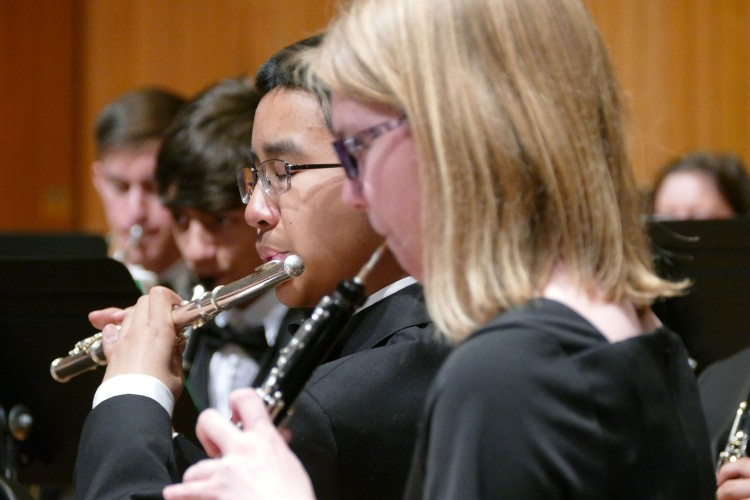 Oboe and flute student musicians.