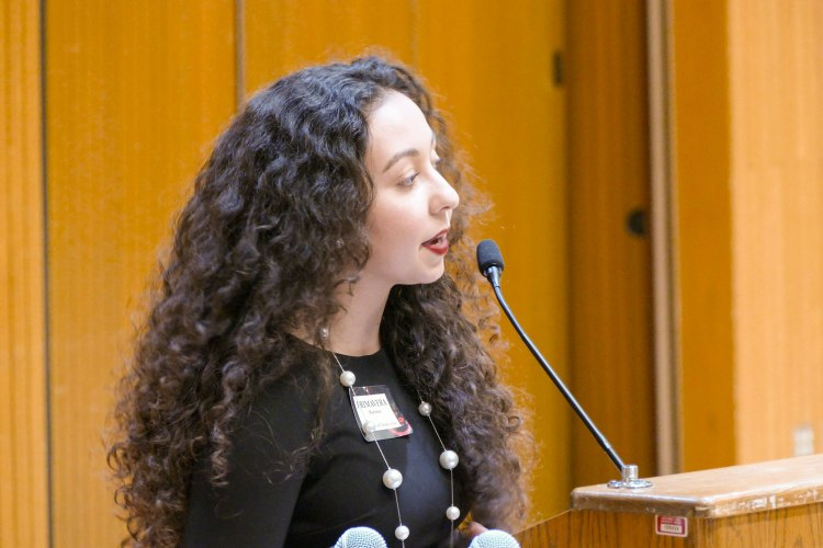 Primavera Leal Martinez speaks during the 2019 Arts in Motion event.