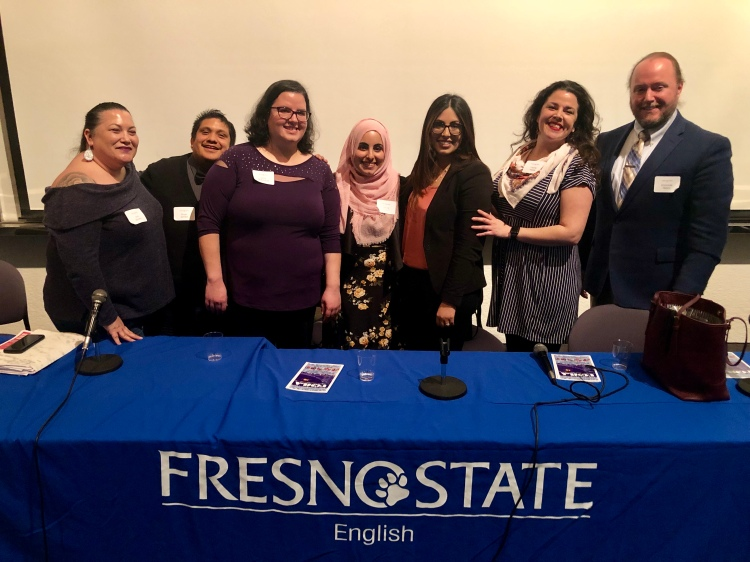 Fresno State alumni Erin Álvarez, Zoyer Zyndel, Lena Mahmoud, Neama Alamri, Leila Alamri-Kassim, Carrie Ayala, and Jeremiah Henry returned to campus to lead an alumni roundtable discussion on how the English Department's annual UCMLA conference has impacted their lives.