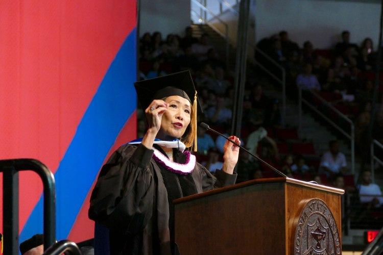 MCJ Alumna Janis Yanehiro speaks after receiving an Honorary Doctorate of Humane Letters.