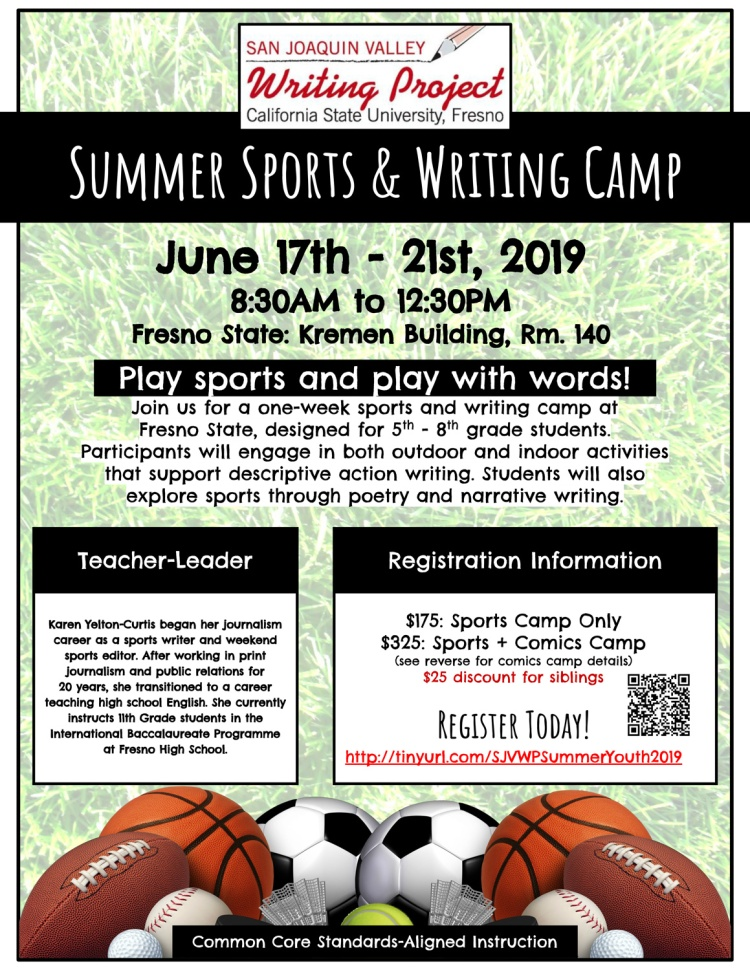 Summer Sports and Writing Camp flier