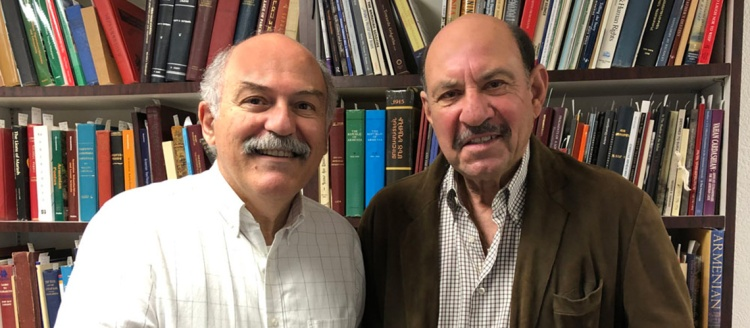 "Armenian Studies Program Director Prof. Barlow Der Mugrdechian and Fresno State alumnus James L. Melikian ""The Popcorn Man"""