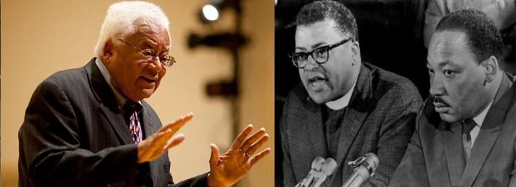 Left: Reverend M. James Lawson Jr.   Right: Reverend Lawson with Dr. Martin Luther King Jr.