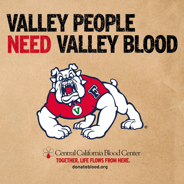 Valley people need Valley blood. Fresno State blood drive social media image.