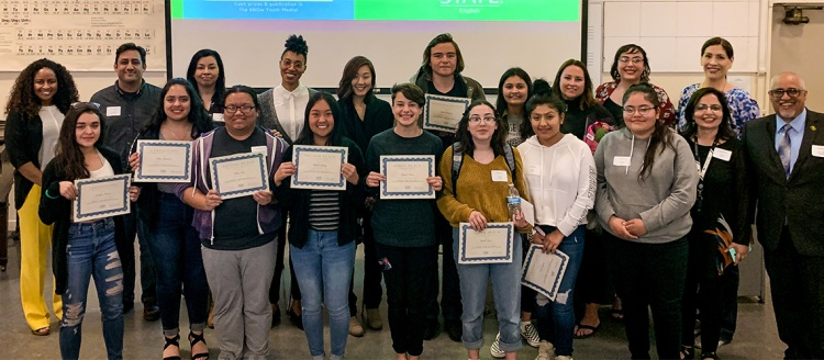 The inaugural Sherley Anne Williams and Lawson Fusao Inada Writing Contest winners pose for a picture with Fresno State Faculty and Edison High School instructors.
