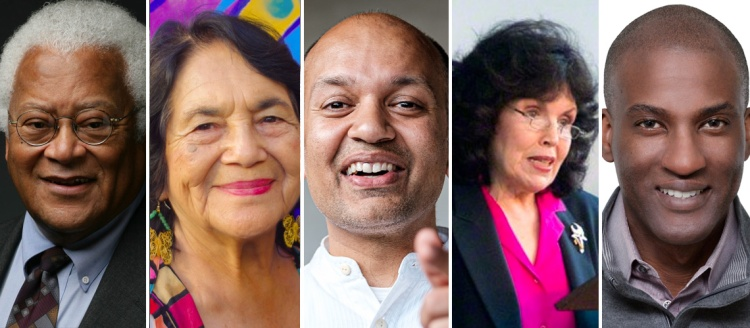 Gandhi's Global Legacy International Conference keynote speakers Rev. James Lawson Jr., Dolores Huerta, Nipun Mehta, Mary Elizabeth King and Ramsey Jay Jr.