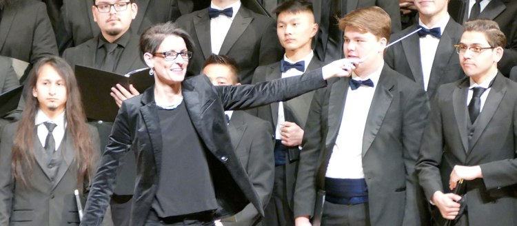 Dr. Cari Earnhart directs her choir