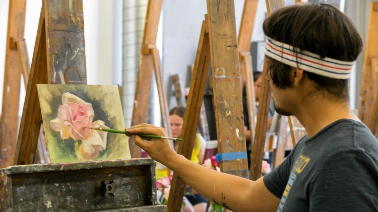 Student paints in 2019 CSU Summer Arts Alla Prima Class