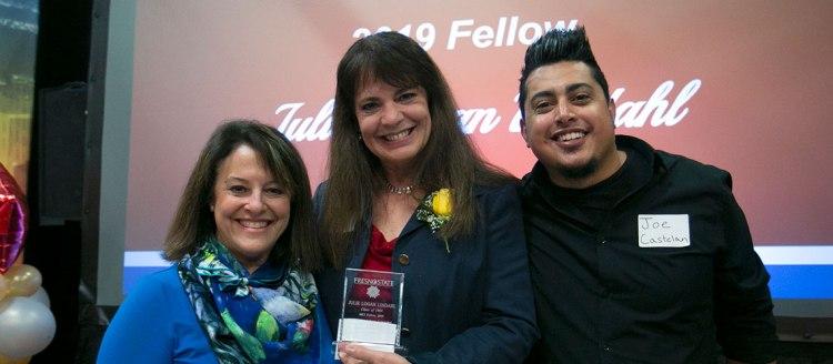 Professor Faith Sidlow (left) and Joe Castelan with 2019 Fellow Julie Lindahl Logan (1985), general manager of KFSR Radio.