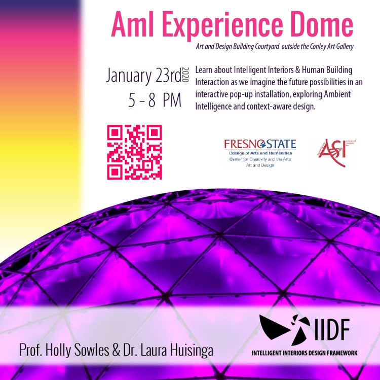 Event flyer: Aml Experience Dome. Learn about Intelligent Interiors and Human Building Interaction as we imagine the future possibilities in an interactive pop-up installation, exploring Ambient Intelligence and context-aware design.