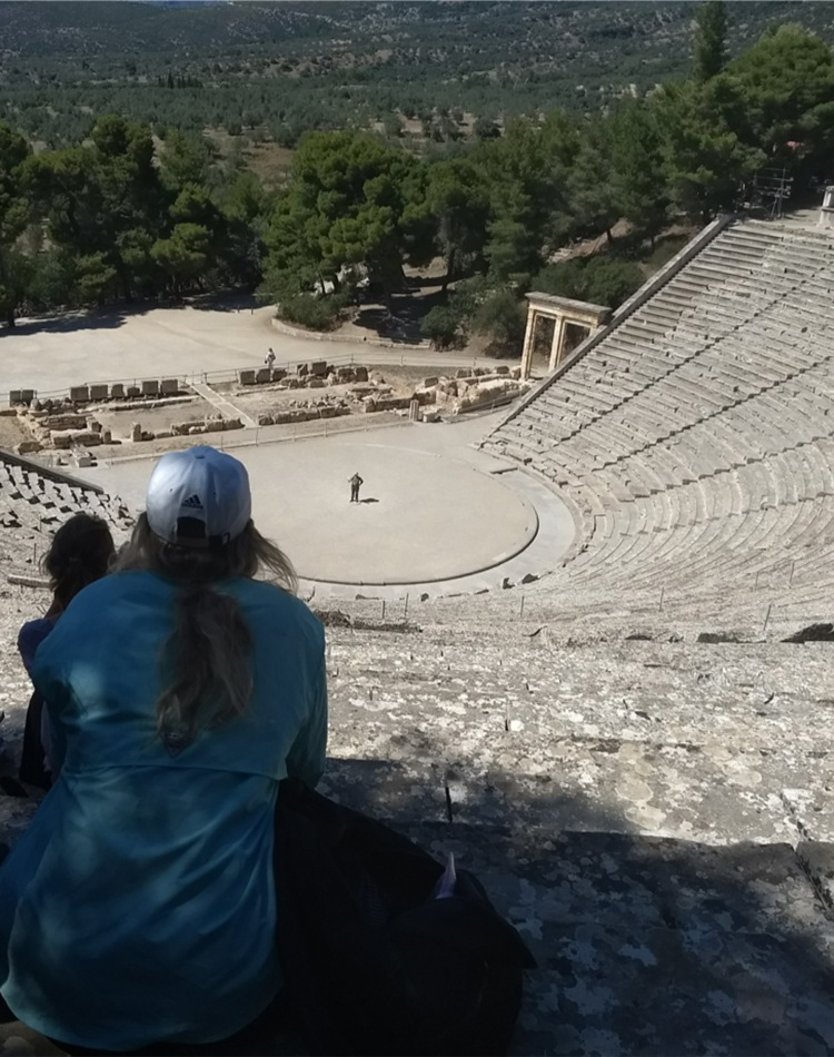 Classics students on Greek trip at amphitheater