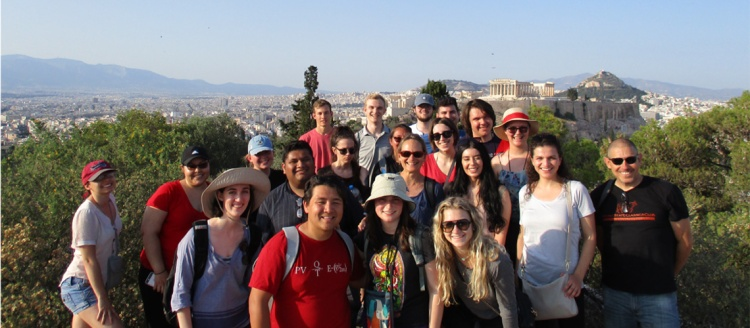Group photo of Classics students in Greece