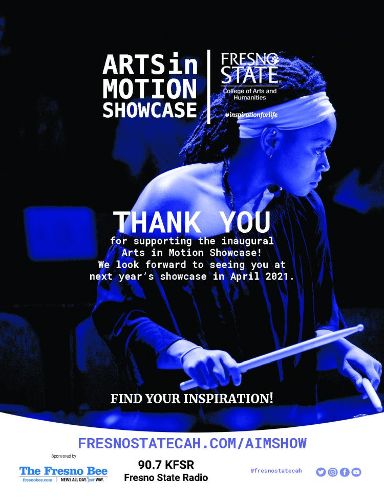 THANK YOU for supporting the inaugural Arts in Motion Showcase! We look forward to seeing you at next year's showcase in April 2021.