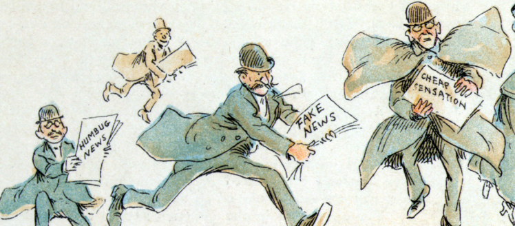 "Reporters with various forms of ""fake news"" from an 1894 illustration by Frederick Burr Opper"
