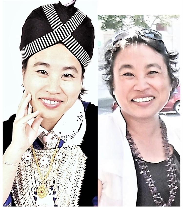 "Dr. Kao-Ly Yang in a Hmong outfit and in Western style. ""I decided to associate the award with my ethnic origin which is also with my teaching field. I also want to make my mother happy to see me in Hmong clothing!"""