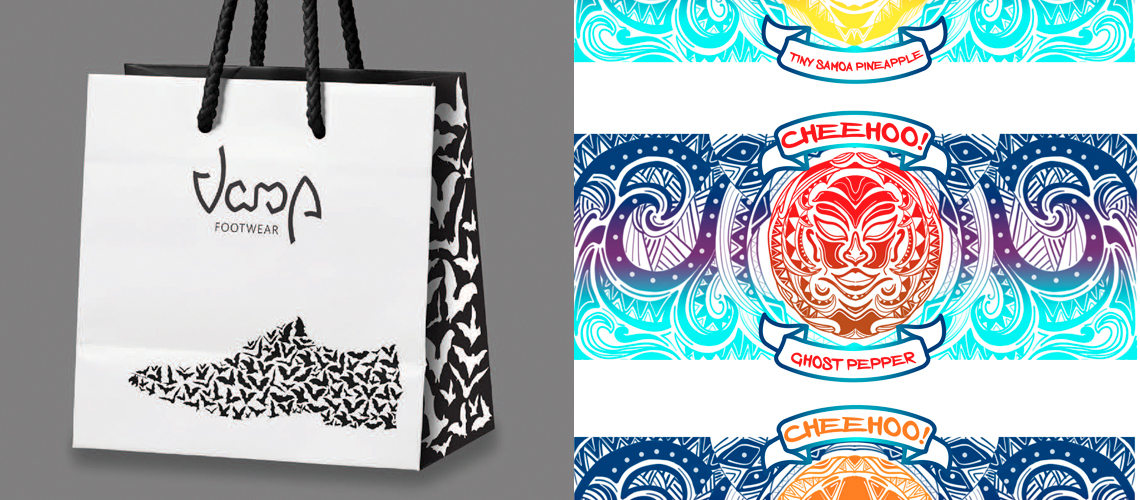 Christopher Slaughter - Sales & Marketing - Packaging - Vamp Footwear Shopping Bag and Michael Vang - Elements of Advertising - Illustration Campaign - Cheehoo! Polynesian Hot Sauce