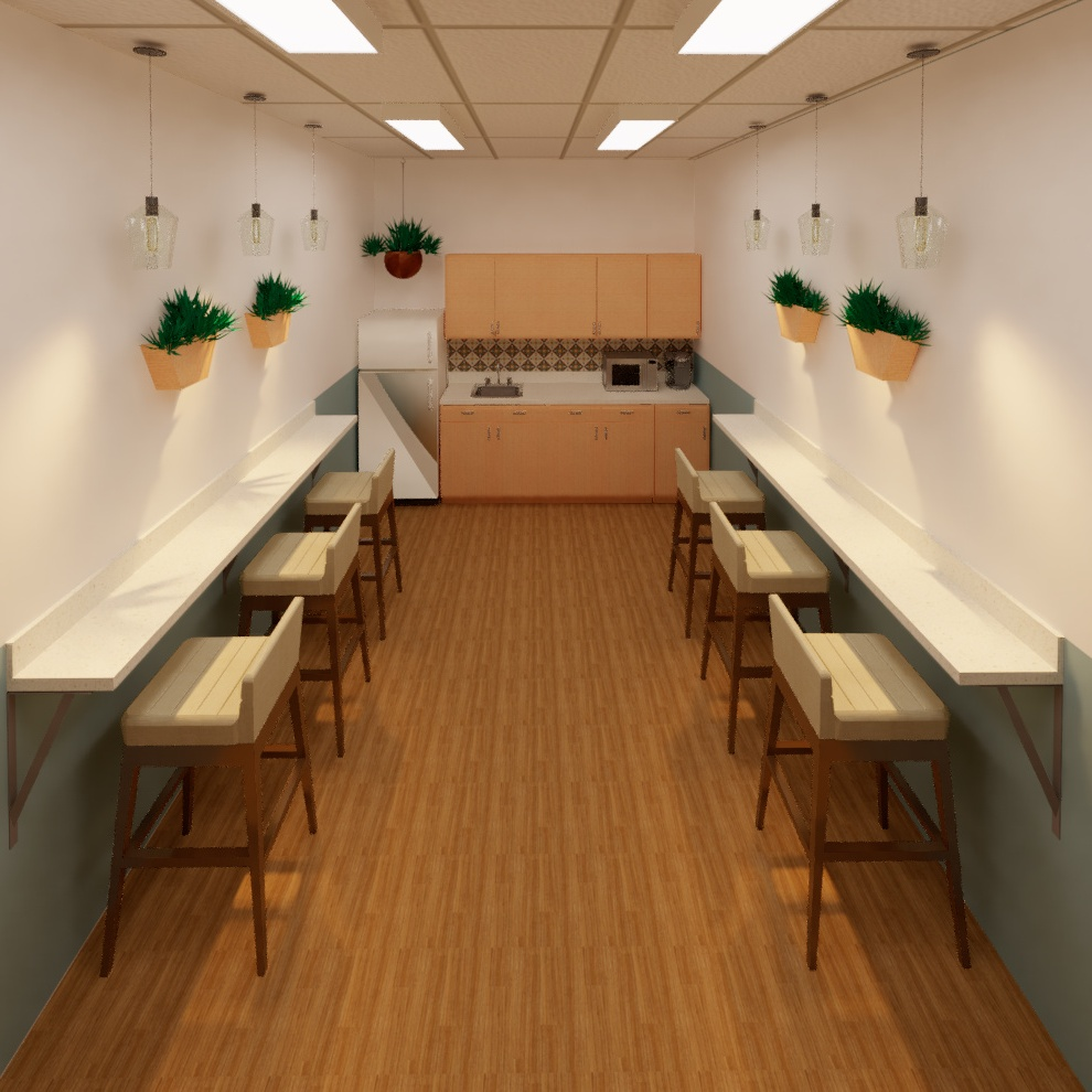 A breakroom rendering of Centro de Justicia