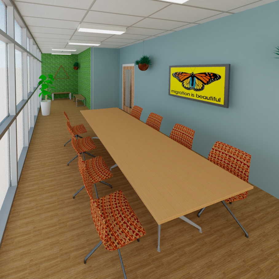 A conference room rendering of Centro de Justicia