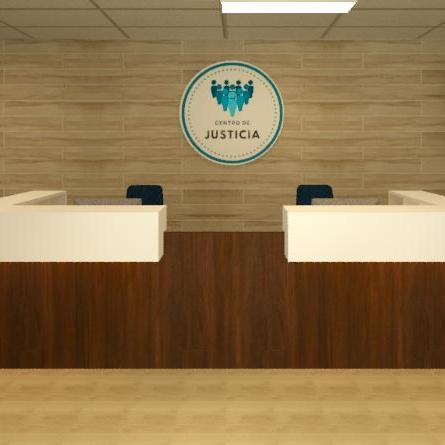 The reception area rendering of Centro de Justicia