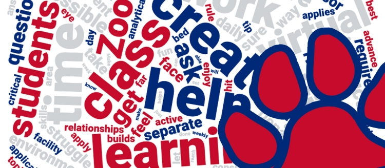 Word cloud of remote learning tips with a Bulldog paw