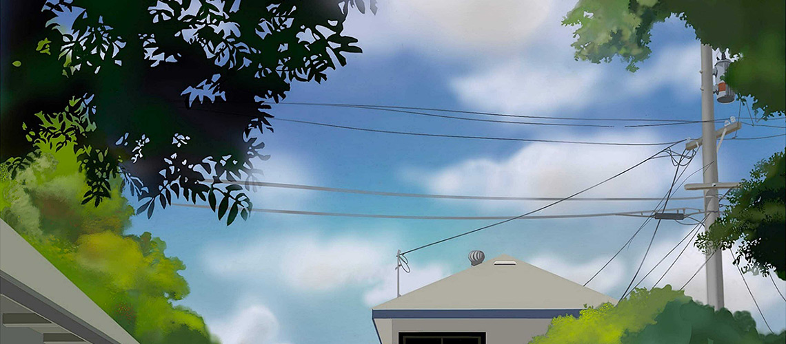 This is the view from my backyard. I was hypnotized by the clouds popping in and out of the window bound by trees, telephone poles, and my neighbors house.