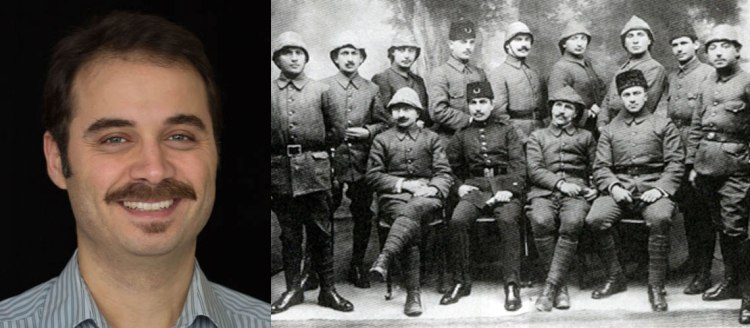 Dr. Ohannes Kılıçdağı on left side of image and Armenian officers in reserve of Ottoman Army, 1914 on right