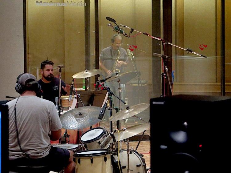 Nathan Guzman (drums), Richard Juarez (percussion) and Benjamin Boone (Sax)