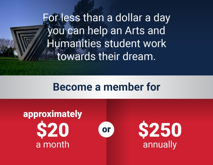 Infographic: For less than a dollar a day you can help an Arts and Humanities student work towards their dream. Become a member for approximately $20 per month, $250 per year.