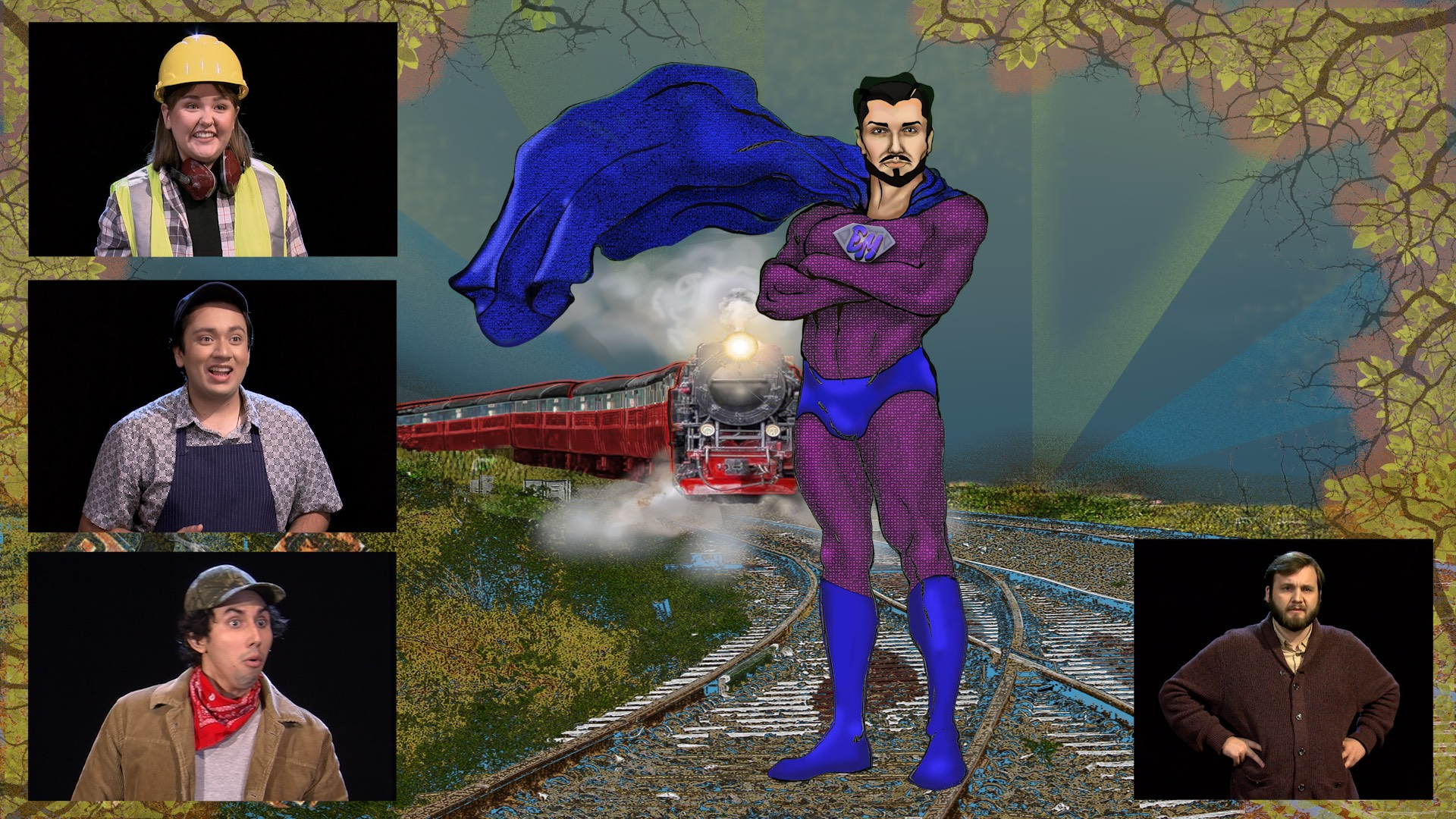 "Screenshot of the final production with comic novel style artwork and actors. ""Witness"" Teya Juarez, ""Witness"" Krishan Joshi, ""Witness"" Andrew Trevino, ""Ethic Man"" - R.L. Preheim"