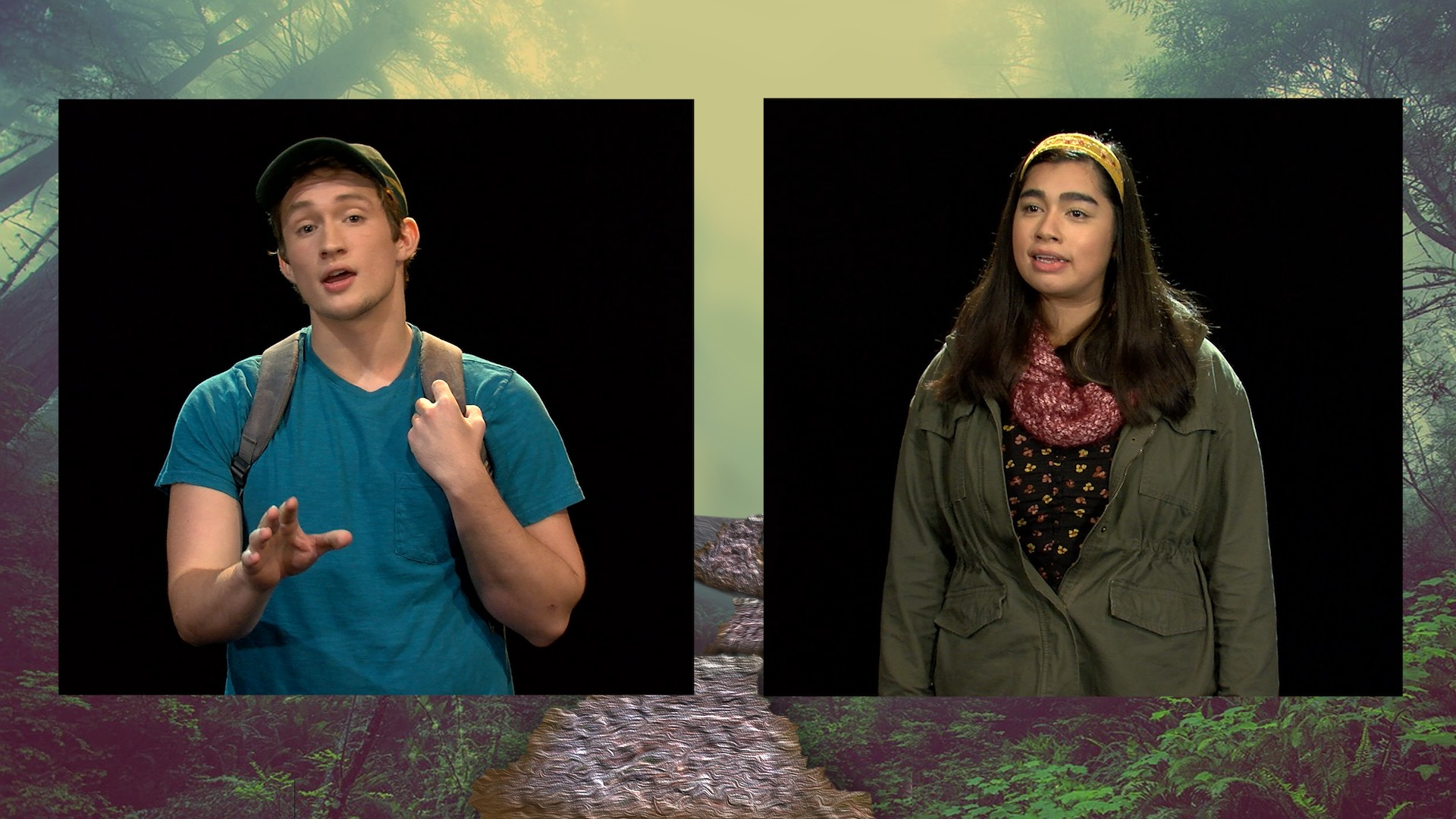 "Screenshot of the two actors in the final production. ""Boy"" Andrew Mickelson, ""Emily"" Julia Prieto."