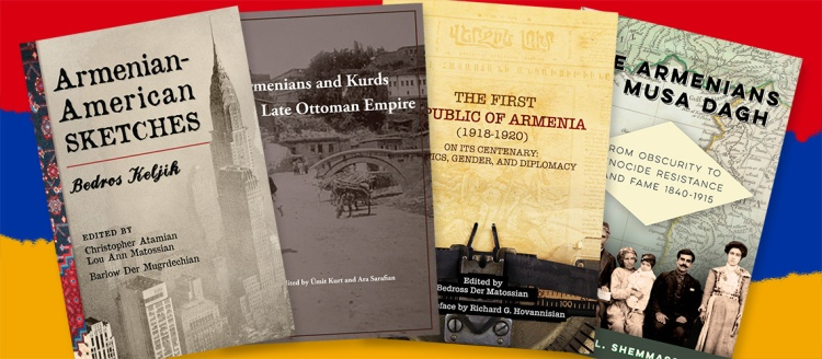 The four books over the colors of the Armenian flag