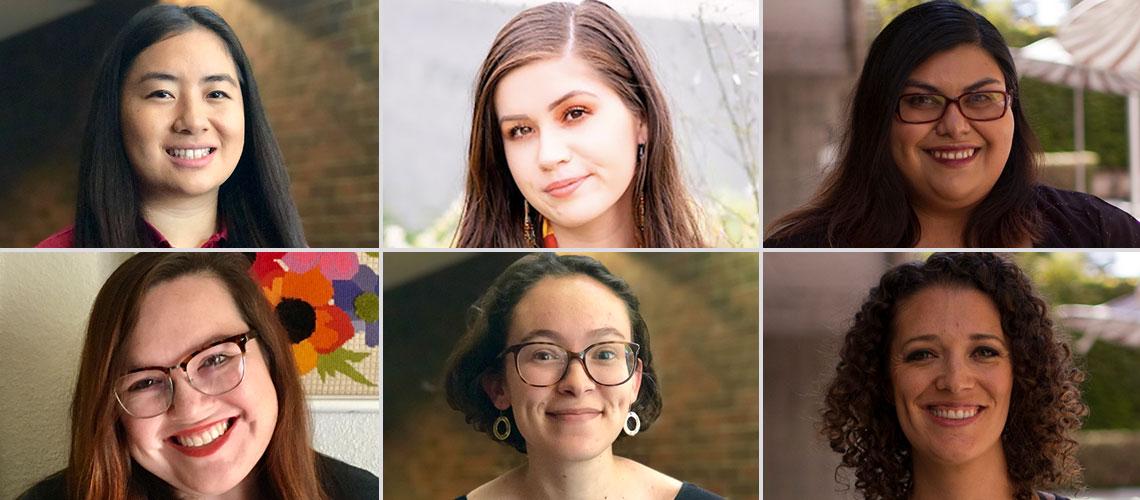 MFA Creative Writing students (top left to right) Jer Xiong, Delaney R. Whitebird Olmo, Carolina Mata, (Bottom left to right) Amber L. Carpenter, Mariah Bosch and Karissa Ellison.