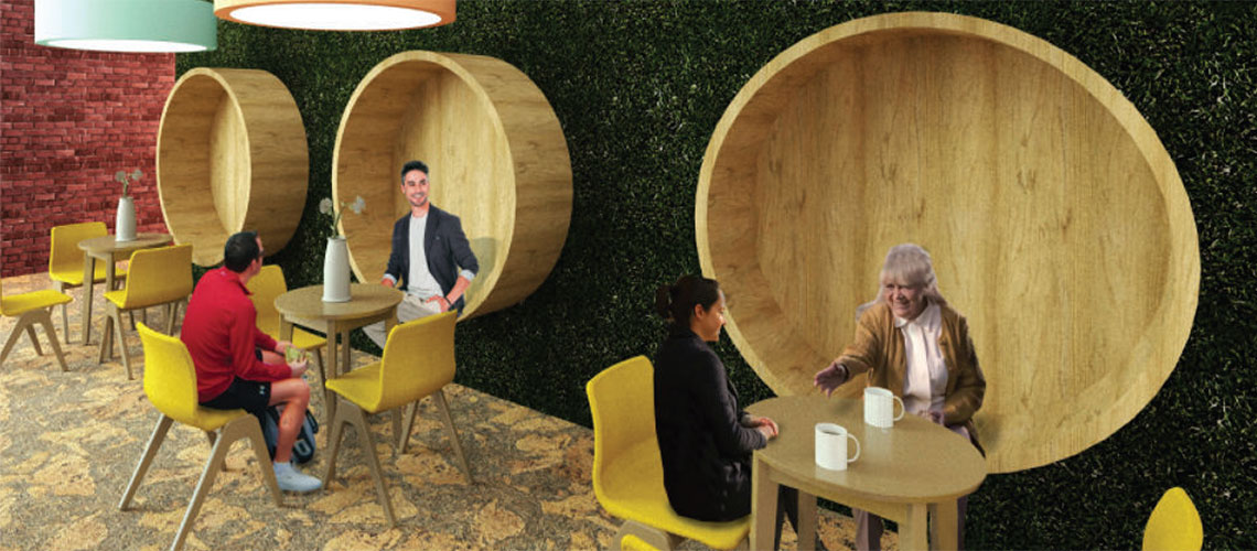 Multipurpose area design. Computer generated image of a space with tables, chairs and people siting and talking.