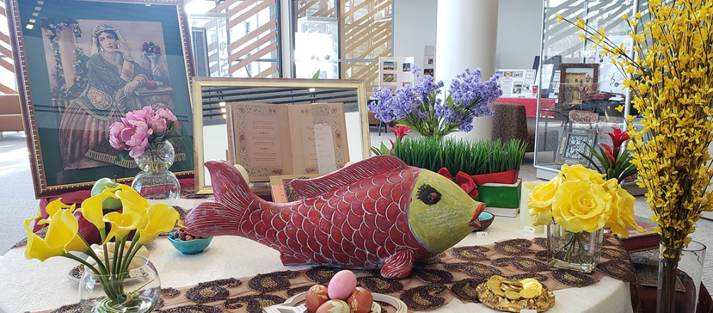 Nowruz display at the Henry Madden Library.