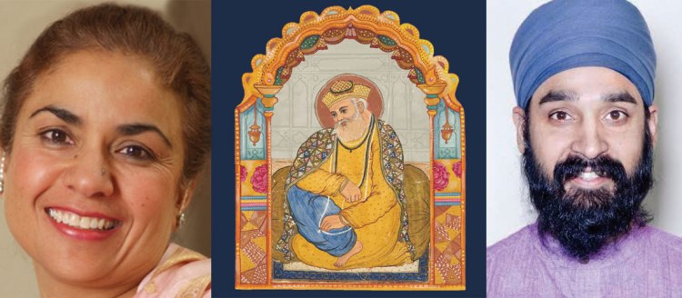 Left: Dr. Nikky Kaur Singh, Right: Dr. Simran Jeet Singh. A tapestry with an image of Guru Nanak is in the center.
