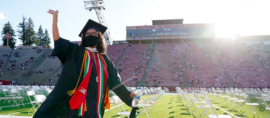 Graduate waves in Bulldog Stadium